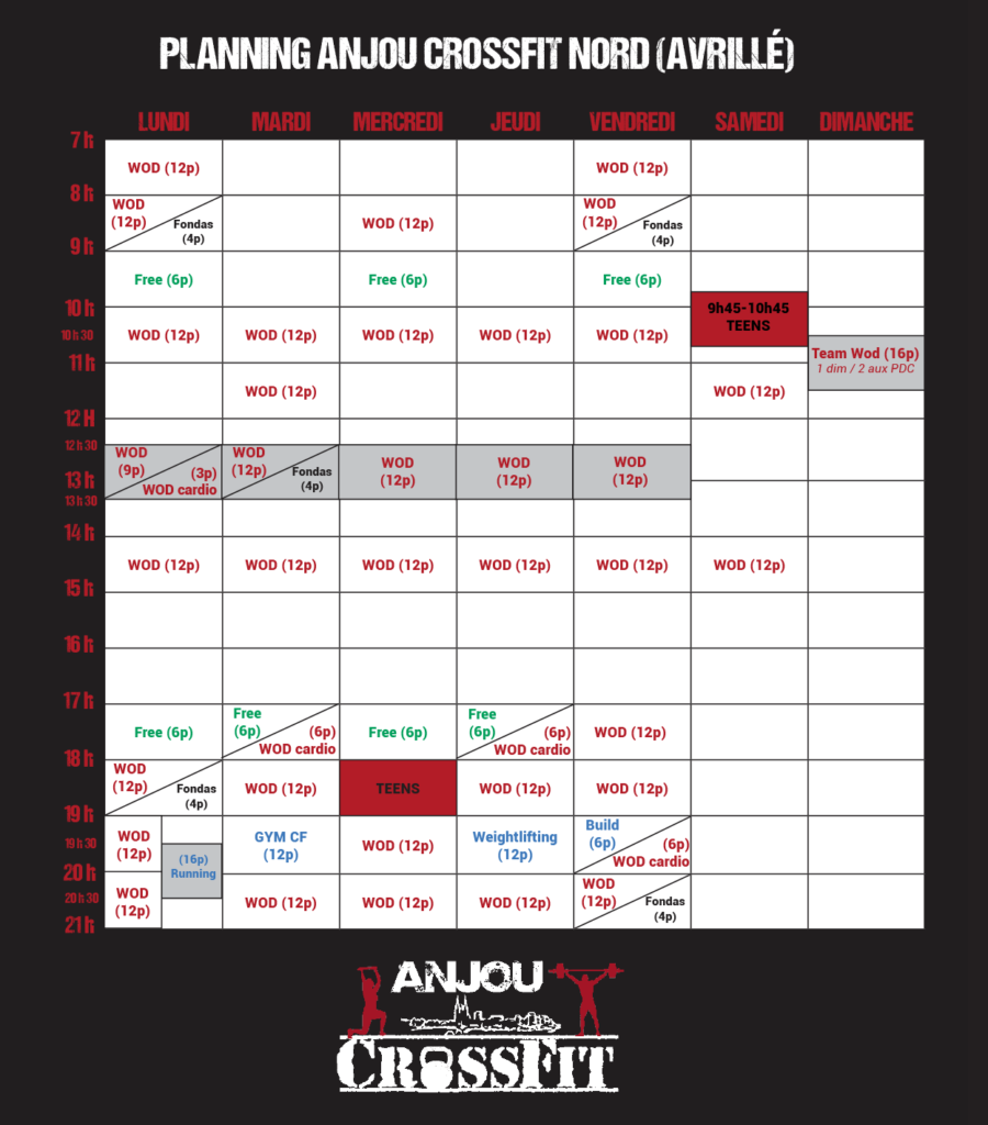 Crossfit-angers-anjou crossfit-49-cours-wod-planning ACF Nord (Avrillé) 2019