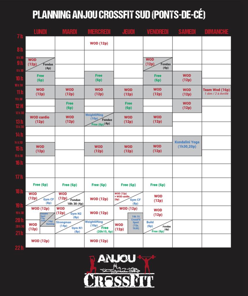 Crossfit-angers-anjou crossfit-49-cours-wod-planning ACF Sud (Ponts-de-ce) 2019
